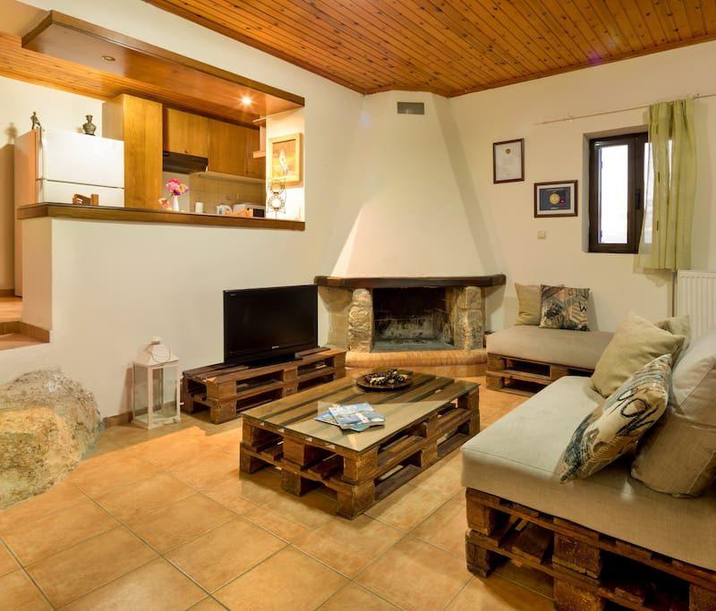 chania stone villa inside